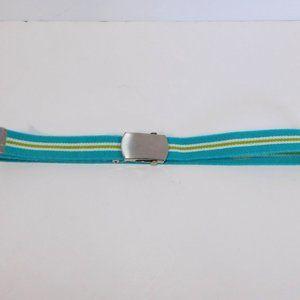 Vintage 80s Blue Green White Striped stretch Belt